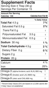 hemp pro 70 nutritional information